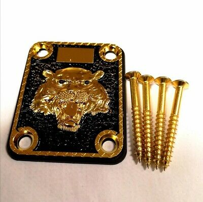 Gold Lion Neck Plate With 4 Screws For Electric Guitar/Bass UK 1st Class