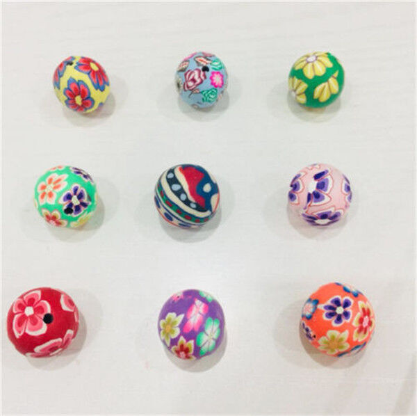 X 25 Polymer Clay Rose Mixed Colour Bead Sizes Vary Approx