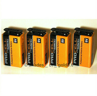4 x 9 Volt (9V) Duracell Procell Alkaline Batteries (PC1604, 6LR61) on Rummage