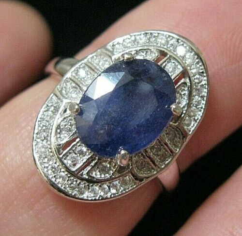 Beautiful STERLING SILVER Real Sapphire Gem Stone Art Deco Revival RING N 6.75