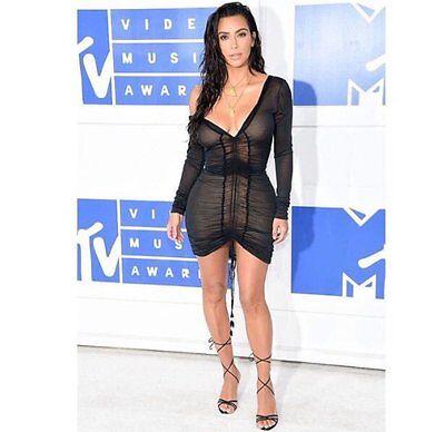 Kim Kardashian Sheer Black Evening Asymmetric Off Shoulder Deep V Cocktail Dress