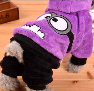Coat hoodie for pet dog cute puppy dog minion pattern clothes ebay