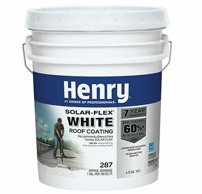 4.75 Gallon Solar Flex White Roof Coating Mildew Resistant Reduce Energy Costs