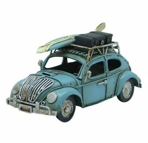 Vintage Style Bug Tin Car - Retro VW Bug - Metal - 15cm - Blue