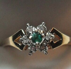 "10kt yellow gold ""Emerald & Diamond Cluster Engagement Ring"