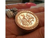 9CT GOLD ST GEORGE MEDALLION RING
