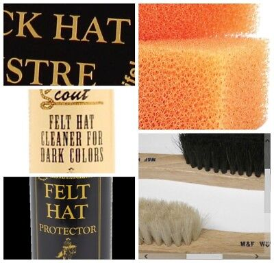 Hat Care Cleaning Set for Dark/Light Hats-2Brushes+2Sprays+2Sponges+1Protector+1 - Hat Care Kit