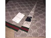 Brand New Authentic Gucci Solange GG Guccissima Jacquard Scarf Brown Beige Unisex