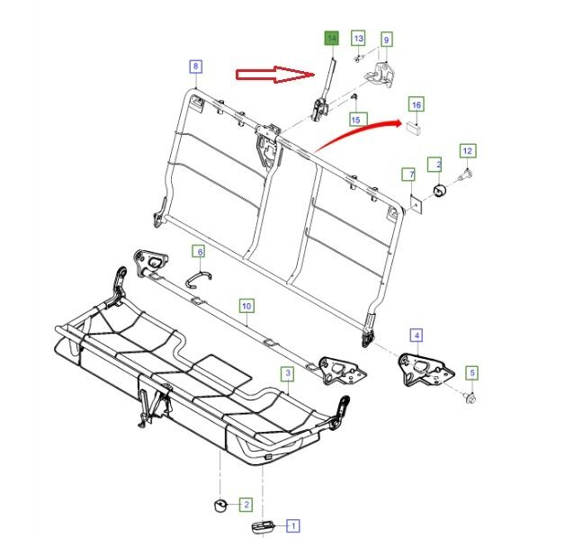 LATCH & HANDLE REAR SEAT BACK FOR FORD RANGER PX 2014-2015