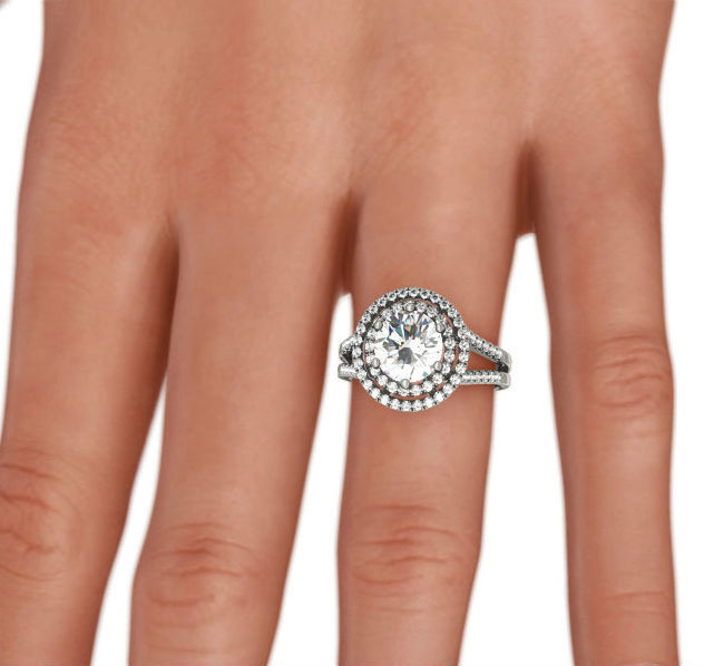 Halo Diamond Ring Awesome 14 Karat White Gold 1.8 Ct 6 Prong Colorless Si1 D