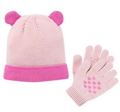 Girls Hat Set (Girls Pink Knit Hat And Gloves With Hearts Set One Size 4-16 NWT)