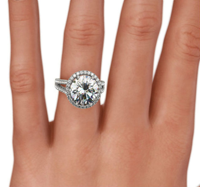 5 Ct Colorless Halo Diamond Ring Round Shape 6 Prongs 14k White Gold Appraised