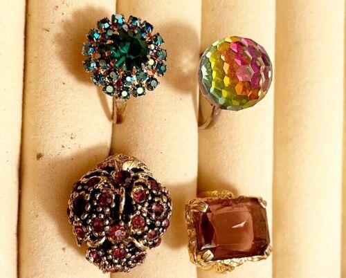 Vintage Rhinestone Costume Jewelry Rings