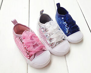 New Baby Girl Shoes Glittering Ribbon Shoes 3 6 9 12 Month ...