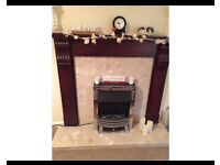 Lovely fireplace, wood surround, marble and electric fire for sale, good shabby chic project