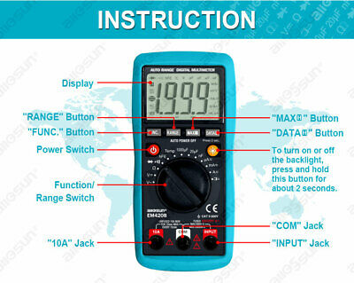 Digital Multimeter Autoranging Capacitance 1999 Counts Backlight Cat Ii Tester
