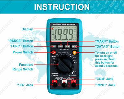 Digital Multimeter Autoranging Capacitance 1999 Counts Backlight Cat Ii Tester
