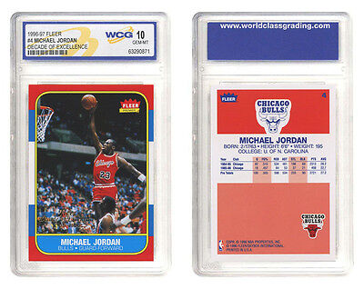 1996-97 MICHAEL JORDAN FLEER DECADE OF EXCELLENCE ROOKIE CARD #4 - GEM-MINT 10