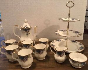Royal Albert Moonlight Rose Coffee Set With Cake Stand