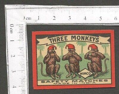 AOP THREE MONKEYS vintage Matchbox label