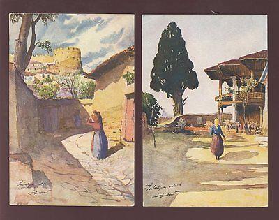 GREECE SALONICA c1930 PPCs ARTIST SIGNED...2 CARDS