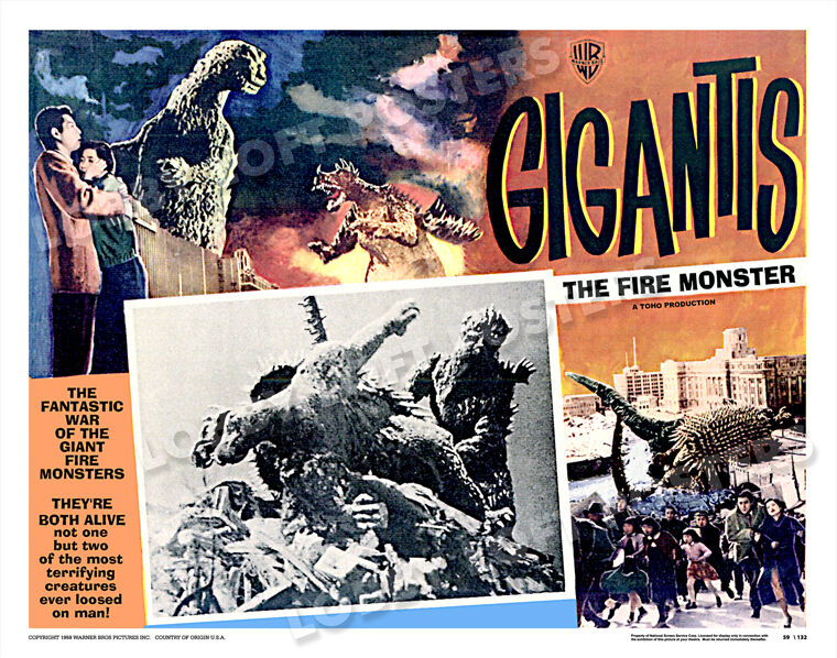 GIGANTIS THE FIRE MONSTER  GODZILLA LOBBY SCENE CARD MX POSTER 1959 TOHO