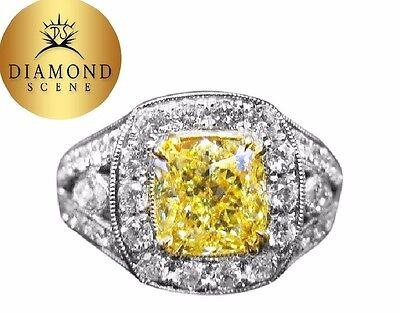 GIA CERTIFIED FANCY YELLOW DIAMOND CUSHION SHAPE DIAMOND ENGAGEMENT RING