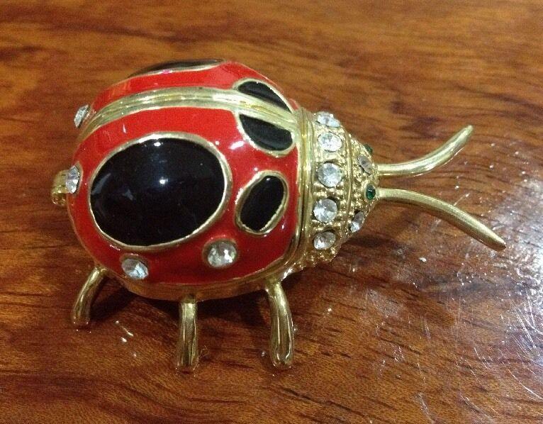 Trinket Box - LADY BUG Rhinestones and a Magnetic Closure - NEW