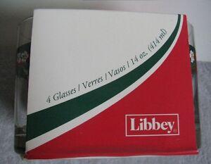 4 Libbey glasses with poinsettia motif Christmas Gatineau Ottawa / Gatineau Area image 2