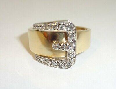 Beautiful 10K Yellow & White Gold Diamonds Buckle Ring Size 6.5