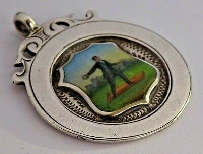 Stunning antique solid silver & enamel pocket watch albert chain fob. Quoits