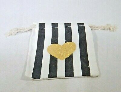 Black And Gold Party Favors (Gold Heart Black and White Striped Party Favor Bags 10 pack)