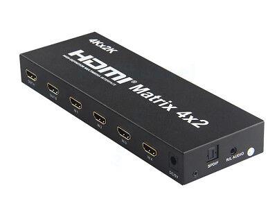 HDMI V 1.4 True Matrix 4 Input to 2 Output Switch Switcher Splitter 4k 2k 3D (Matrix Output)