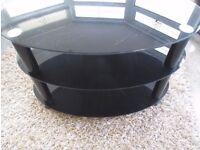 Black Oval Glass TV / DVD Stand