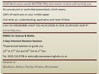 Maths and Science GCSE Revision sessions.