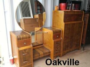 ART DECO Tall Boy Dresser and DRESSING TABLE With Your Choice of Mirror ROUND or RECTANGULAR Matching Set