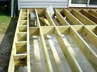 Wood deck framing.