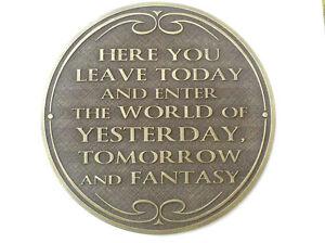 Magic Kingdom Walt Disney World  Entranceway Plaque new.
