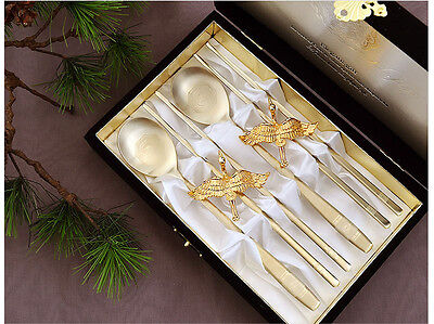 Korean Titanium Spoon Chopsticks Stainless Steel Gold Plated Crane Couple Gift