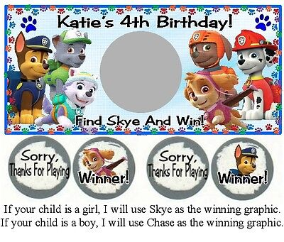 Paw Patrol Party Games (10 Paw Patrol Birthday Party Or Baby Shower Scratch Game Card Ticket Skye)