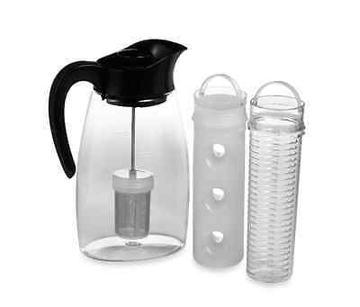 Water Pitcher Flavor It Infuse Brew Chill Fruit Tea Infuser Spill Proof 3 Core