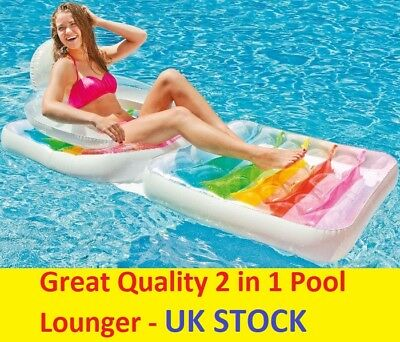 Inflatable Swimming Pool Lounger Folding Lounge Chair Float Beach Fun Summer UK ()