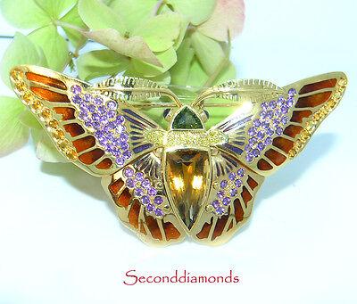 Farbenprächtiger Schmetterling aus 750 Gold Anstecknadel Brosche mit Brillanten