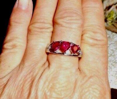 LAB CREATED RUBY, WHITE AUSTRIAN CRYSTAL STAINLESS STEEL HEART RING -10 Austrian Crystal Heart Ring