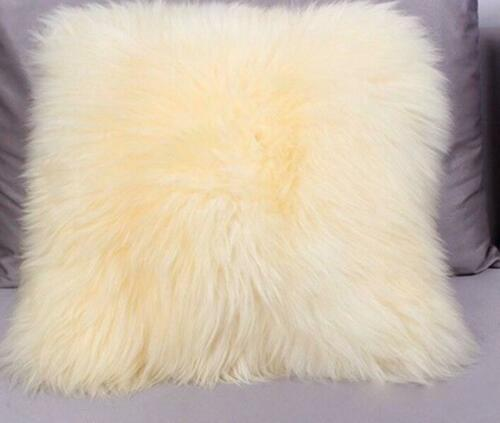 Sweet Real Soft Sheep Skin Fur Fleece Pillow Cushion Cove Pillowcase Pageant New