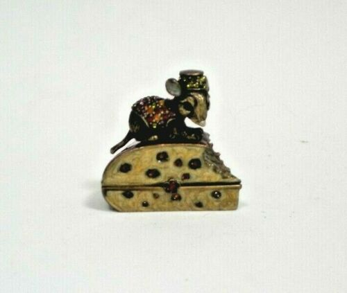 Jay Strongwater MOUSE on CHEESE Trinket Box ~ Enamel Jeweled