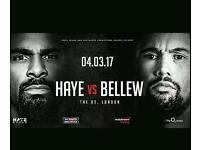 David Haye vs Tony Bellew 2 TICKETS O2 Arena 4th March