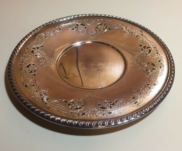 """Antique Wallace Melford Reticulated C6539 Round Silverplate Serving Plate 10"""""""