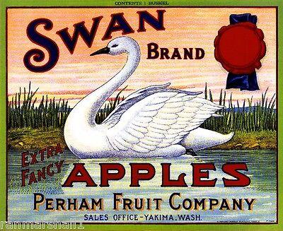 Yakima Washington Swan Apple Fruit Crate Box Label Art Print ()