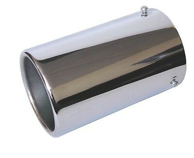 STAINLESS STEEL 90mm ROUND ROLLED CAR EXHAUST TAIL PIPE TRIM TIP RACING SPORTS